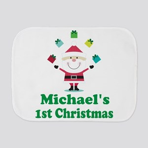 Babys 1st Christmas Personalized Burp Cloth