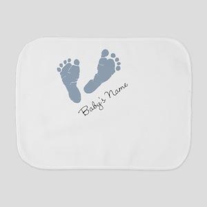 Baby Blue Footprints Burp Cloth