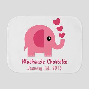 Pink Elephant CUSTOM Baby name birthdate Burp Clot