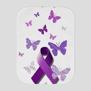 Purple Awareness Ribbon Burp Cloth