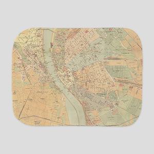 Vintage Map of Budapest Hungary (1884) Burp Cloth