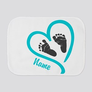 Baby Heart Blue Personalized Burp Cloth