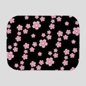 Cherry Blossoms Black Pattern Burp Cloth