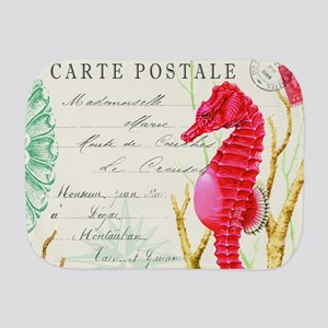 Modern vintage seahorse Burp Cloth