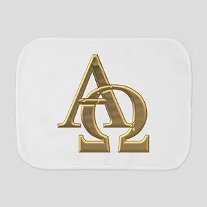 """""""3-D"""" Golden Alpha and Omega Symbol Burp Cloth"""