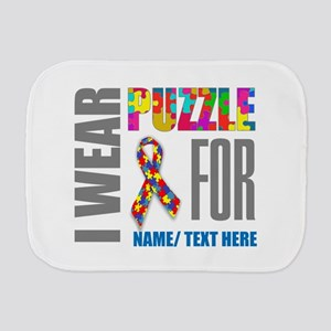 Autism Awareness Ribbon Customized Burp Cloth