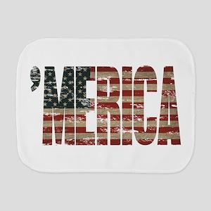Vintage Distressed MERICA Flag Burp Cloth