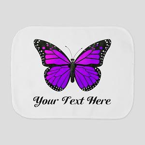Purple Butterfly Custom Text Burp Cloth