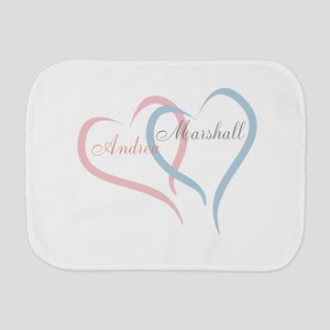 Twin Hearts to Personalize Burp Cloth