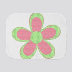 Pink and Green Flowers Burp Cloth