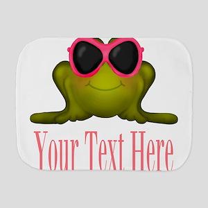 Frog in Pink Sunglasses Custom Burp Cloth