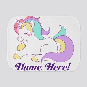 Personalized Custom Name Unicorn Girls Burp Cloth