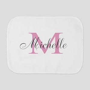 Personalized pink monogram Burp Cloth