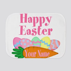 Happy Easter Carrot and Eggs Burp Cloth