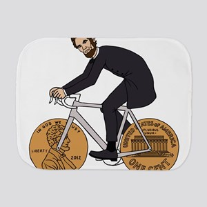 Abraham Lincoln On A Bike With Penny Wh Burp Cloth