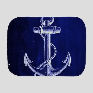 nautical navy blue anchor Burp Cloth