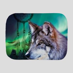 dream catcher northern light wolf Burp Cloth