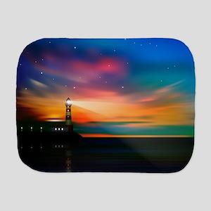 Sunrise Over The Sea And Lighthouse Burp Cloth