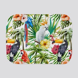 Tropical Flowers and Macaw Burp Cloth