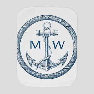 Anchor, Nautical Monogram Burp Cloth