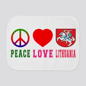 Peace Love Lithuania Burp Cloth