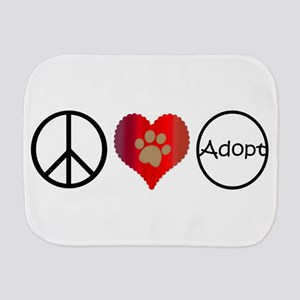 Peace Love Adopt Burp Cloth