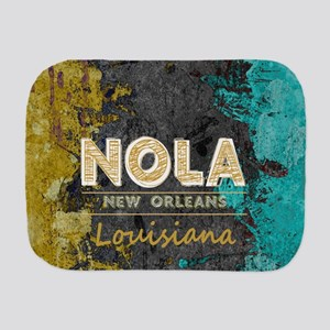 NOLA New Orleans Black Gold Turquoise G Burp Cloth
