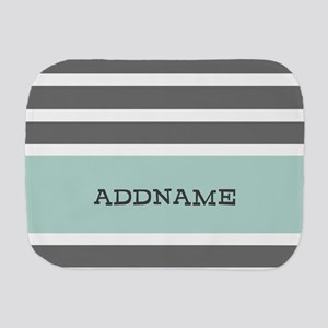 Gray and Mint Stripes Personalized Burp Cloth