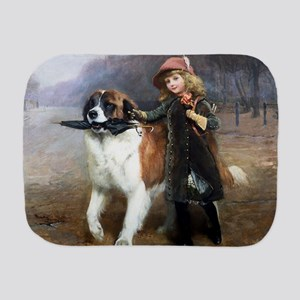 A Little Girl and Her Dog Burp Cloth