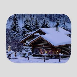 Log Cabin During Christmas Burp Cloth