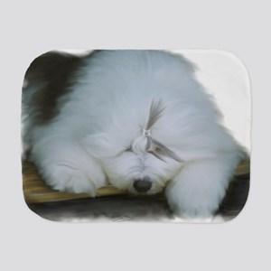 Old english sheepdog on stairs Burp Cloth