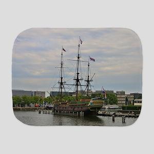 Old sailing ship, Amsterdam, Holland Burp Cloth