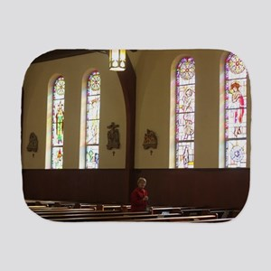 inside a church and pews Burp Cloth