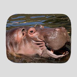Happy African Hippo in water Burp Cloth