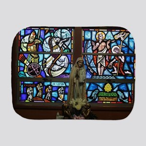 stained glass window with statue of Mar Burp Cloth