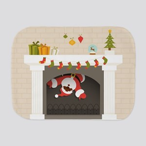 black santa stuck in fireplace Burp Cloth