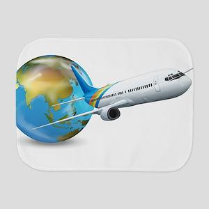 World transport design with globe and p Burp Cloth