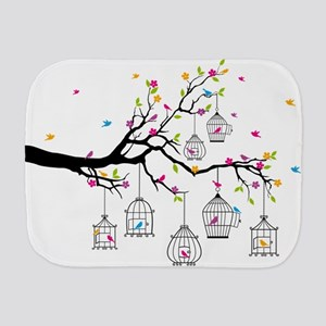 tree branch with birds and birdcages Burp Cloth