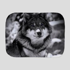 Grey Wolf In Snow Burp Cloth