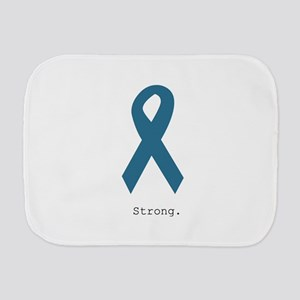 Strong. Teal Ribbon Burp Cloth
