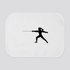 Girl Fencer Lunging Burp Cloth
