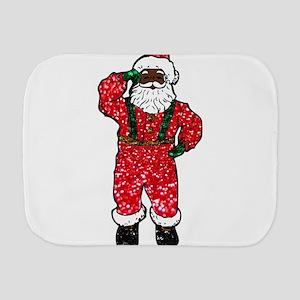 glitter black santa claus Burp Cloth