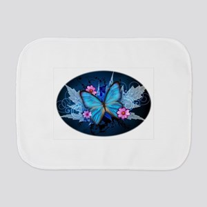 blue butterfly Burp Cloth