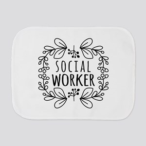 Hand-Drawn Wreath Social Worker Burp Cloth