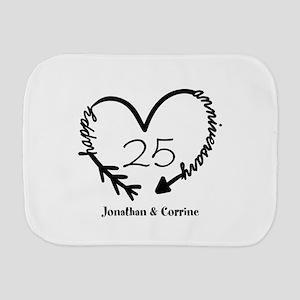 Custom Anniversary Doodle Heart Burp Cloth