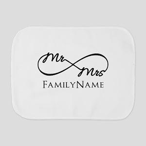 Custom Infinity Mr. and Mrs. Burp Cloth