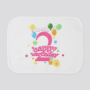 2nd Birthday with Balloons - Pink Burp Cloth