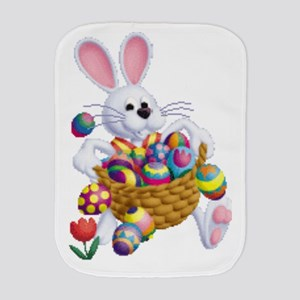 Easter Bunny With Basket Of Eggs Burp Cloth