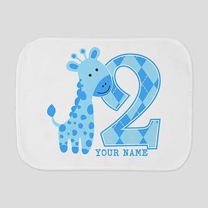 2nd Birthday Blue Giraffe Personalized Burp Cloth