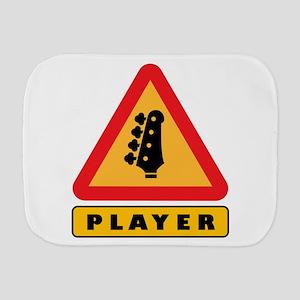 Electric Bass Player Caution Sign Burp Cloth